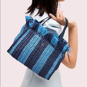 NWOT KATE SPADE Blue Straw Mini Tote Bag Purse